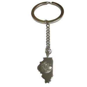 Illinois State Map Shape and Flag Design Keychain